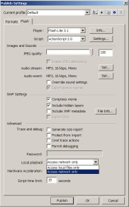 Configuração de publicação para p Flash Lite 3.1