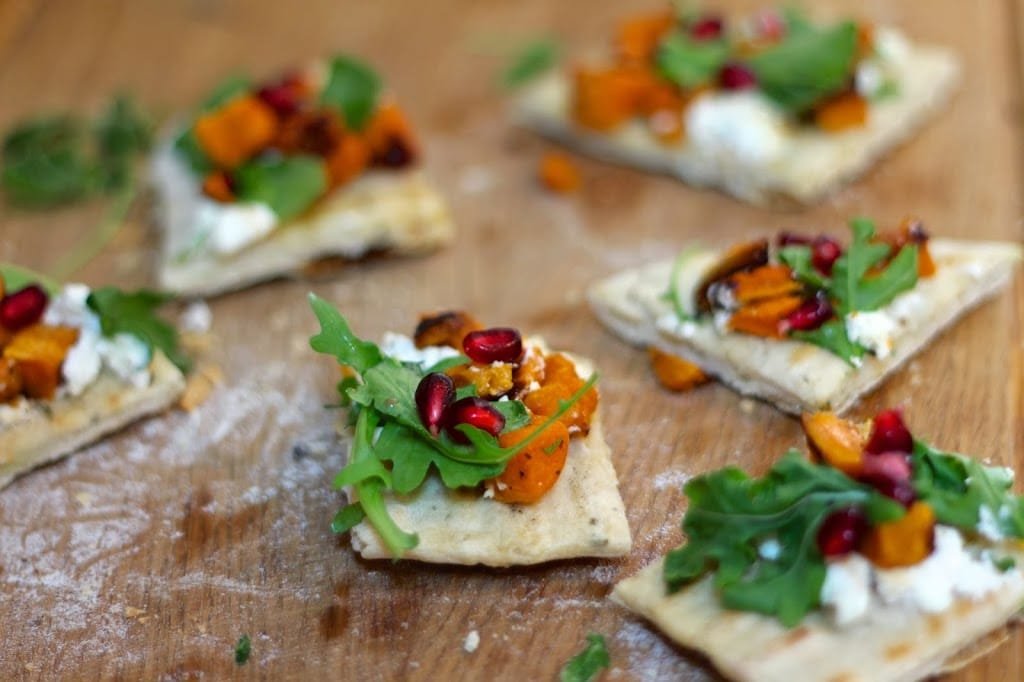 Roasted Sweet Potato Ricotta Flatbread with arugula and pomegranate is ...