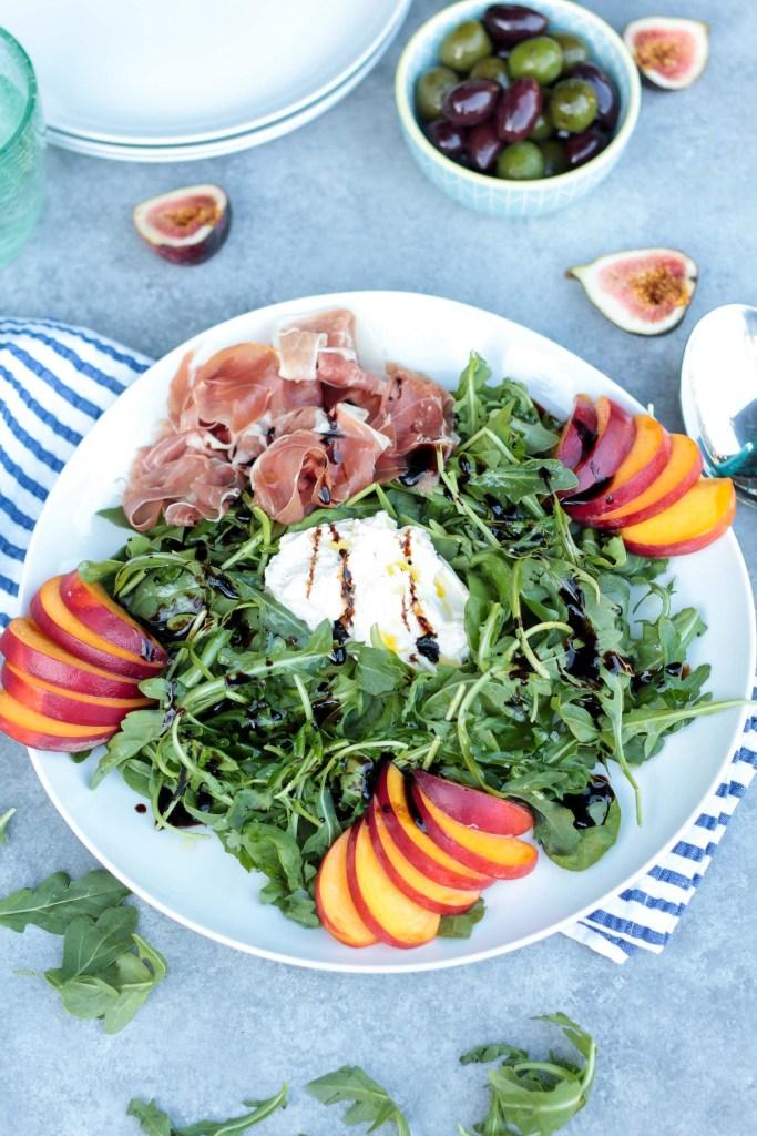 Prosciutto Peach Arugula Salad