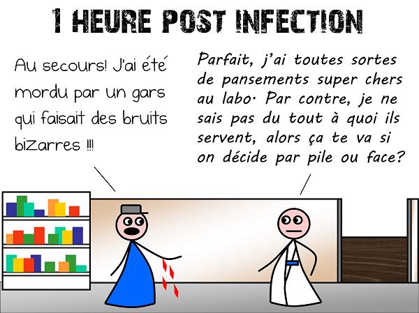 1 heure post-infection : un homme a été mordu