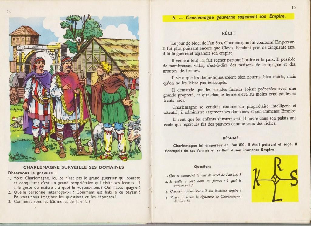 """Image 3 - Paul Bernard et Frantz Redon, """"Notre premier livre d'histoire. Cours élémentaire"""", F. Nathan, 1950, p. 14 et 15. Les pages précédentes et suivantes ne parlent pas de Charles Martel."""