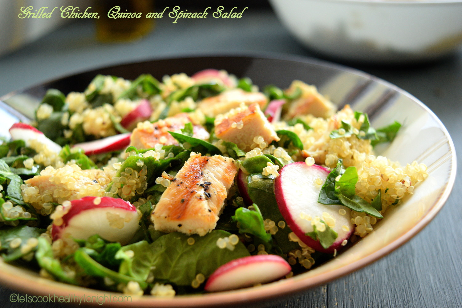 Grilled Chicken, Quinoa and Spinach Salad