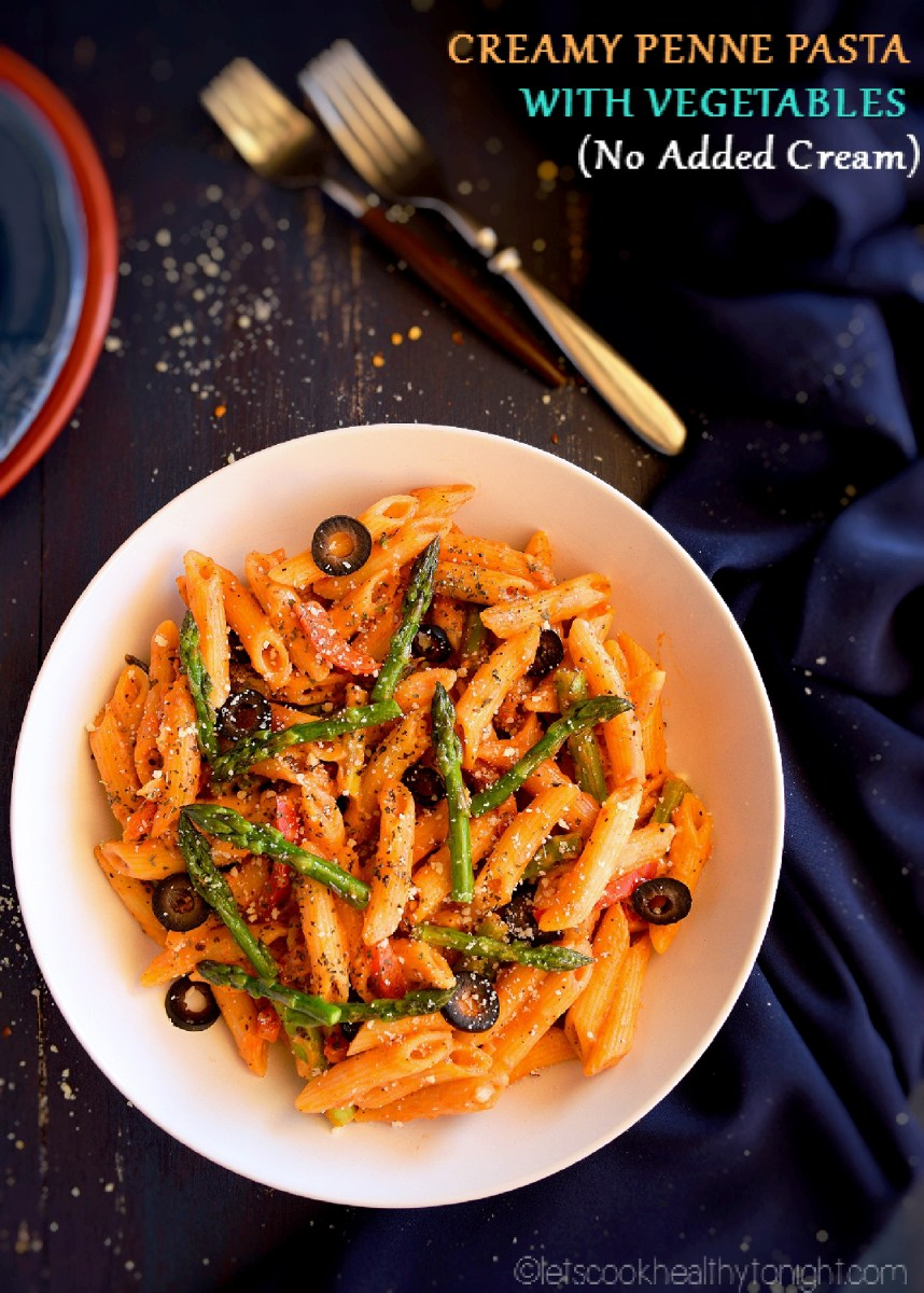 Ceamy Penne Pasta with Vegetables ( No cream)