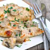 Chicken with Cheesy Mushroom Cream Sauce