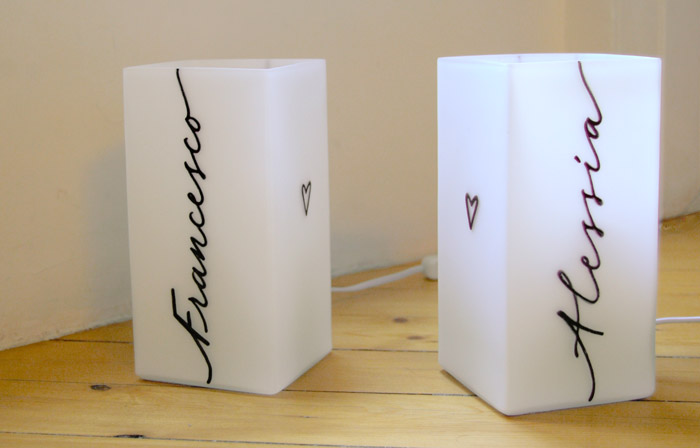 Lampade moderne - Calligrafia personalizzata - Marika Salerno