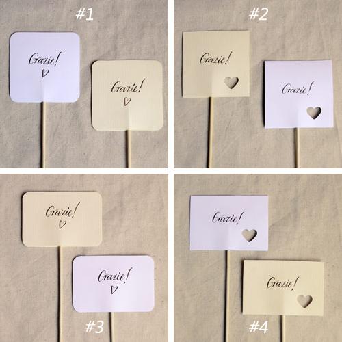 4 modelli di bigliettini per le bomboniere