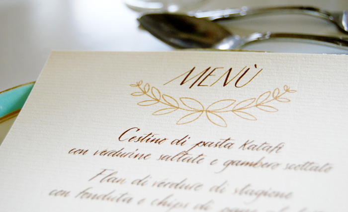 Menù & calligrafia per matrimoni