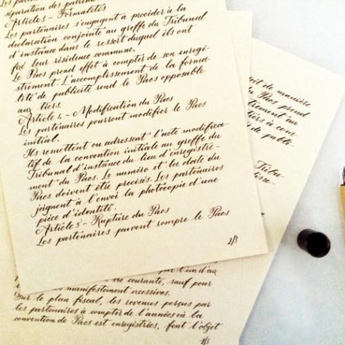 Voeux de mariage écrits à la main