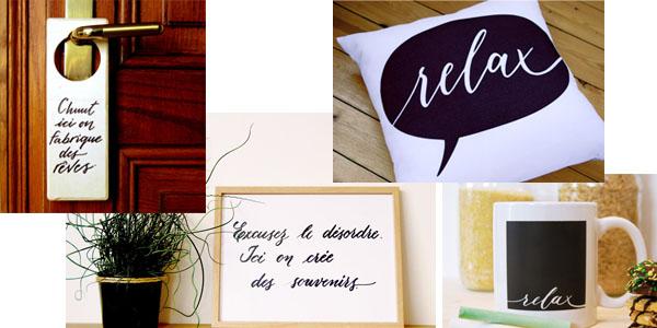"""Jeu Concours #tousles25 - Mois de novembre - Plaque de poignée de porte """"Chuut, ici on fabrique des reves"""", Affiche """"Excusez le désordre, ici on crée des souvenirs"""" - Mug ardoise """"Relax"""" - Affiche pour la maison """"Home is where I can dance in my pajamas"""" - Coussin déco """"Relax"""""""