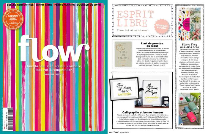 Pubblicazione - LettersLoveLife, poster, arredamento e calligrafia - Idea per un regalo personalizzato - Rivista Flow Francia