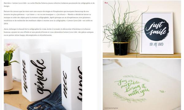 Blog Color Pastello - Oggetti e arredamento - Pubblicazione Letters Love Life - Studio di calligrafia