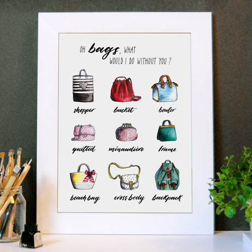 "Poster murali ""Oh bags, what would I do without you?"" (Oh borse, cosa farei senza di voi?) 
