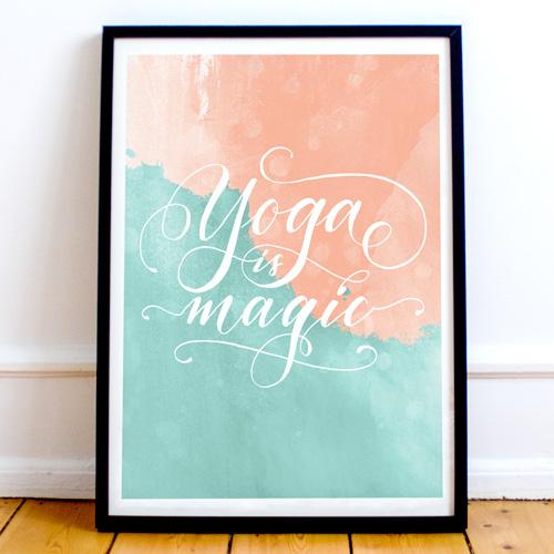 "Cadeau original pour yogi: Affiche ""Yoga is magic""   Letters Love Life   Calligraphie Marika Salerno"