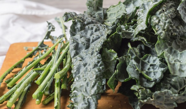 Lacinato Kale stems and leaves for Portuguese Kale and Potato Soup