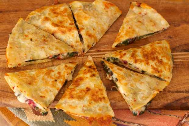pepper jack and chard quesadilla wedges