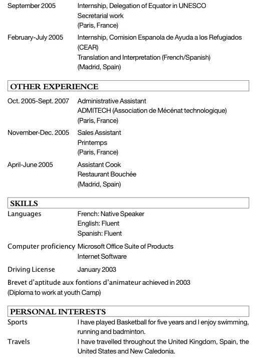resume format  cv lettre motivation reconversion