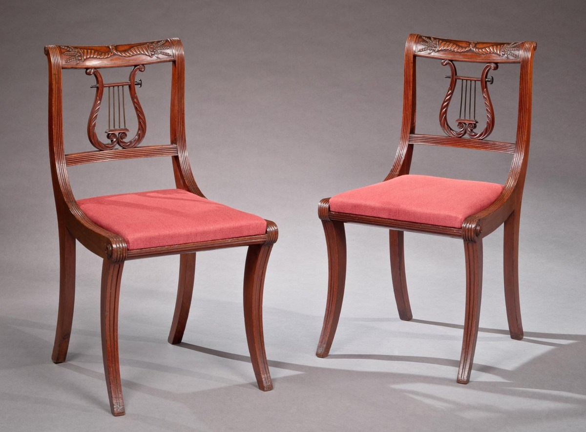 SET OF FOUR LYRE BACK FEDERAL SIDE CHAIRS : : Bernard u0026 S. Dean Levy