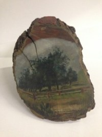 Painted pear tree stump from Mission San Rafael