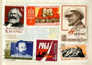 A page from James Magner's collection of Soviet stamps.