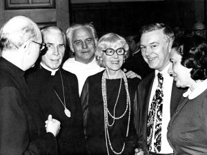 Archbishop Fulton J. Sheen is pictured in this undated photo with Rev. Gilbert Hartke, O.P., founder of Catholic University's speech and drama department; Clare Boothe Luce, playwright and former congresswoman from Connecticut and U.S. ambassador to Italy; and Clarence Walton, who served as president of the University from 1969 to 1978.