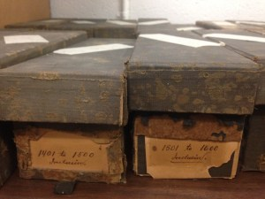 These original lantern slide boxes are a little worse for wear!