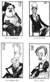 Mr. G. K. Chesterton, Sir Arthur Pinero, Mr. G. Bernard Shaw y Mr. H. G. Wells