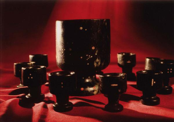 Ecuador- one large Jade cup and 12 smaller Jade cups