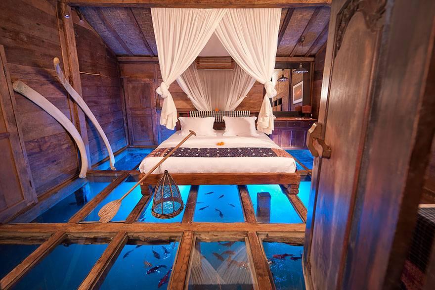 Glass floor Udang House, Bali, Indonesia