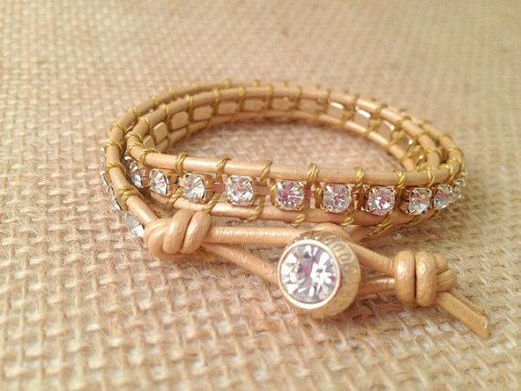 Rhinestone and Leather Wrap by Cadorah Jewelry