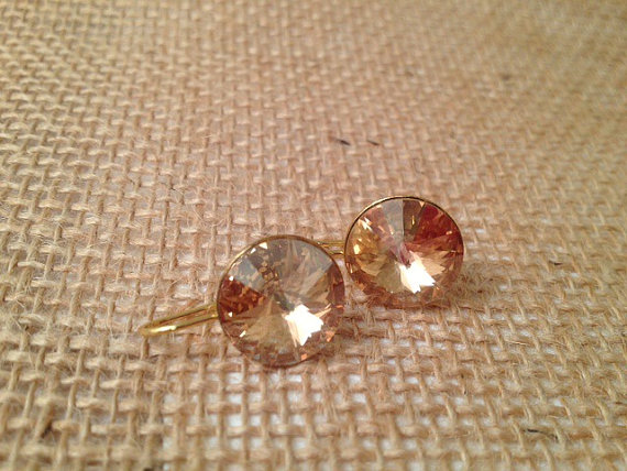 Champagne and Gold Swarovski Drop Earrings by Cadorah Jewelry