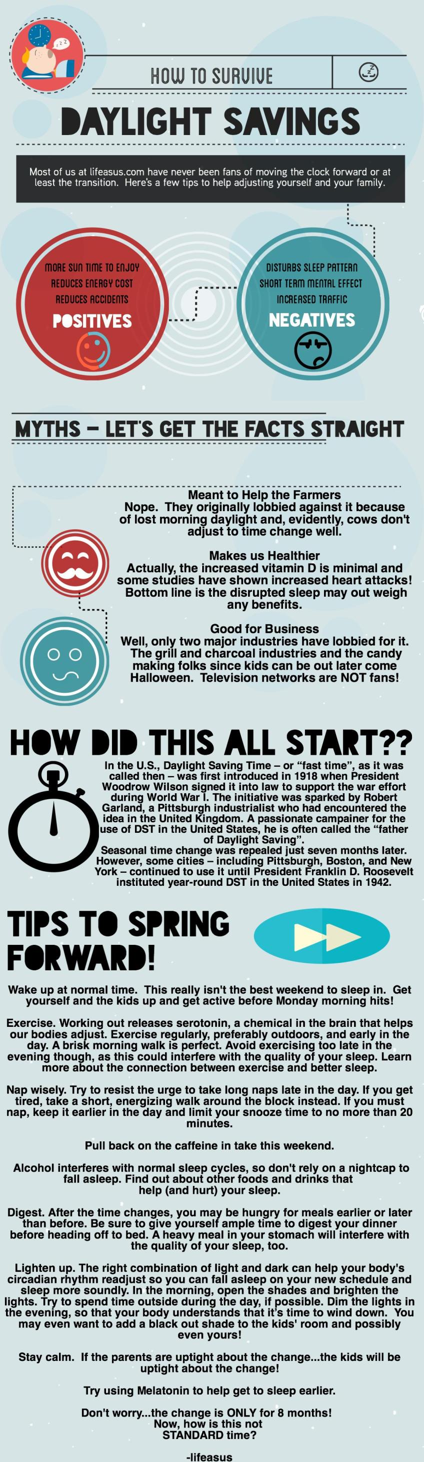 Some daylight savings facts and tips to ease the transition! (lifeasus.com) #daylightsavings #timechange #family