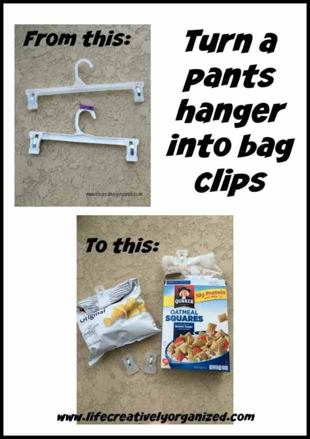 Do you have a closetful of empty plastic pants hangers? You know, those ones that came home with those new pairs of pants, but you don't use because they don't slide easily on your closet rod? Here is how to make bag clips from them!