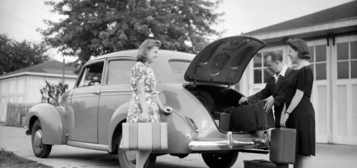 A Chicago family packs for a vacation, ca. 1946