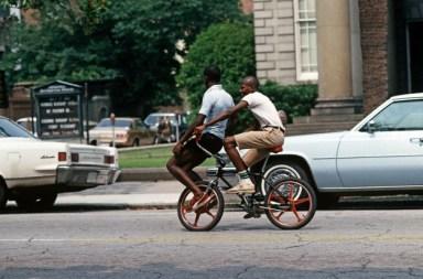 African Americans On Chooper Bike, Downtown Savannah, Georgia, USA, July 1983
