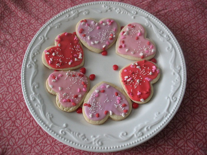 Classic sugar cookie recipe, cookies on a plate, heart cookies