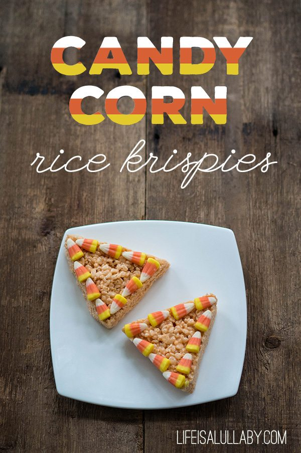 Candy Corn Rice Krispies from Life is a Lullaby  | Halloween Favorites at www.andersonandgrant.com