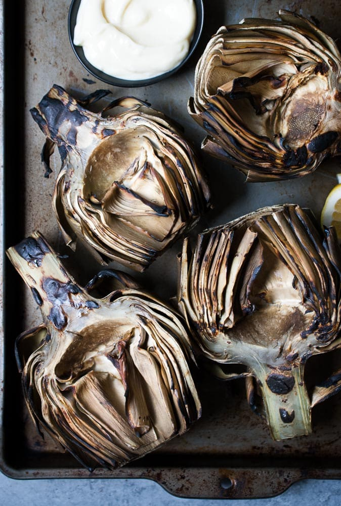 Grilled Artichokes w/ Garlic Lemon Mayo