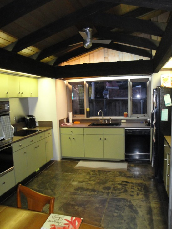 wood ceiling and beams in kitchen