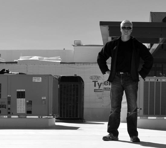 Architect Bob Borson on roof