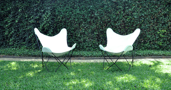 Hardoy butterfly chairs in the my lawn