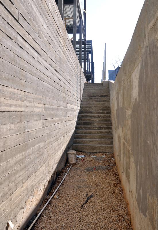 textured concrete at basement level