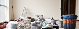 dirty jobsite - painting supplies