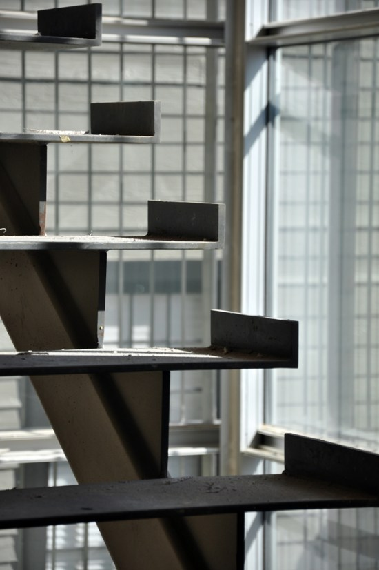modern steel stairs - closeup look at tread base