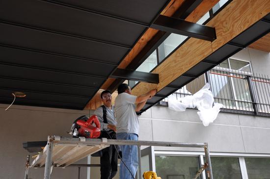 glass bridge installing sheathing
