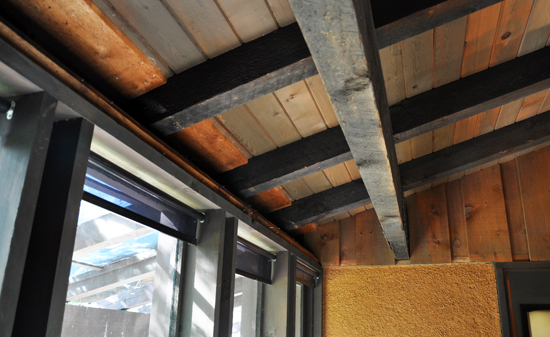 Ceiling with rafters and tongue & groove boards