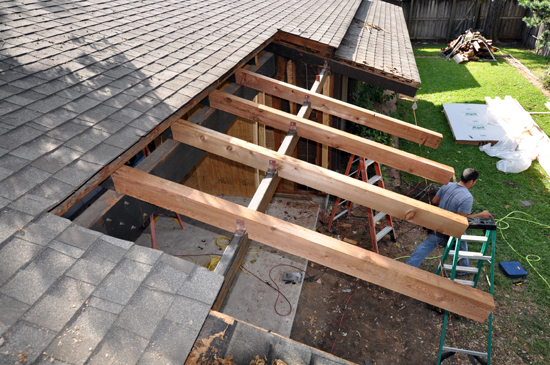 Installing new cedar beams