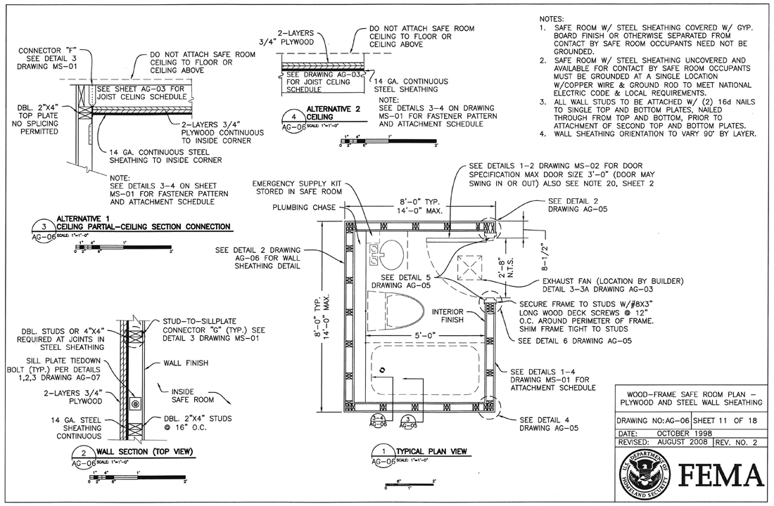 FEMA Safe Room Plan and wall Sections