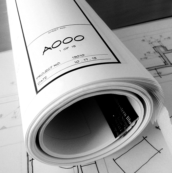 How to roll a set of architectrual drawings