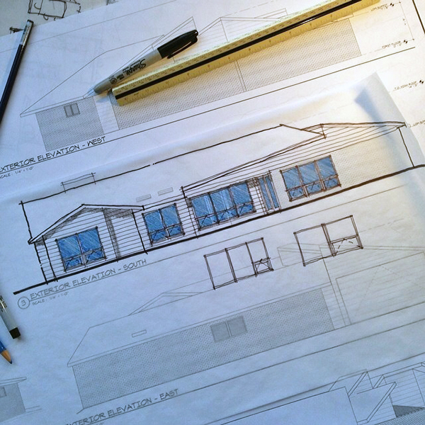 Architectural Sketch drawing straight lines
