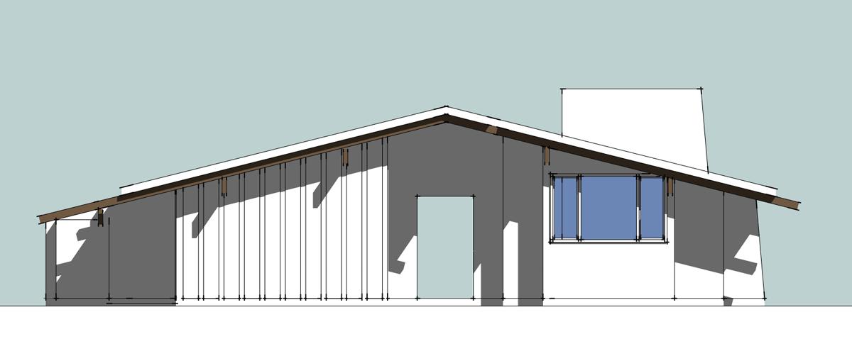 3D house model exterior rear elevation